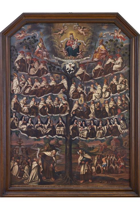 Vinea Carmeli (Weinstock des Karmel). Die Propheten Elija und Elischa pflanzen und gießen den Weinstock, aus den die verschiedenen Heiligen des Karmel sprießen. Die erhabenste Frucht ist die Jungfrau und Gottesmutter Maria selbst, als die Königin und Zierde des Karmel.